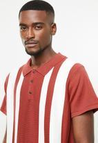 Jack & Jones - Stripe short sleeve polo - rust