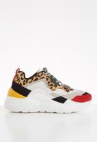 Steve Madden - Antonia leather leopard print flatform sneaker - brown