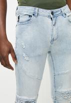 S.P.C.C. - Feather biker jeans - blue