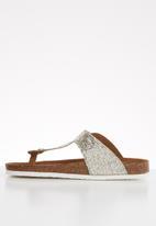 ONLY - Mathilda metallic toe split sandal - silver