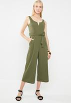 Revenge - V-front cut-out jumpsuit - khaki