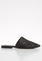 Vero Moda - Leather braidered mule - black