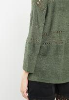 Jacqueline de Yong - Sorbet 3/4 sleeve pullover knit - green