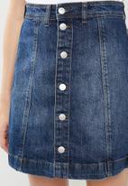 Jacqueline de Yong - Sara button through denim a line skirt - blue