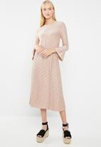 Jacqueline de Yong - Cathinka long sleeve midi dress - neutral
