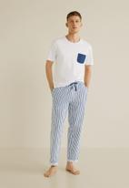MANGO - Pyjamarl pijama pack - navy & white