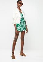 ONLY - Lux malibu playsuit - green & white