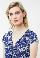 Revenge - Floral tea dress with frills - blue