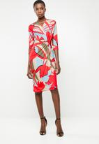 Revenge - Knot front wrap dress - multi