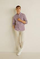 MANGO - Vichy shirt - burgundy & white