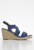Butterfly Feet - Saffron wedge heel - navy