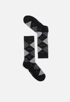 Pringle of Scotland - Argyle socks - black & grey