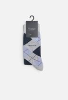 Pringle of Scotland - Argyle socks - navy & grey