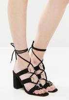 Public Desire - Faux suede criss-cross heel sandal - black