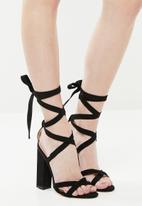 Public Desire - Vera lace up block heel shoe - black