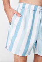 Cotton On - Thick stripe swim shorts - blue & white