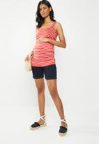 Cherry Melon - Maternity Tank top with side detail - white & red
