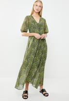 MANGO - Flared floral print dress - green & blue