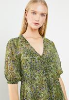 MANGO - Flared floral print dress - green & blue