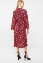 MANGO - Printed crepe dress - red & pink