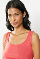 Cherry Melon - Tank with lace - coral