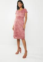 Cherry Melon - Maternity Lace scoop neck cap sleeve - pink