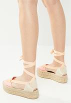 Espadril - Mr. ribbon tripple sole espadrille - pink & orange