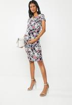 Cherry Melon - Cocktail wrap dress with metal - multi