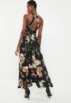 Revenge - Halter floral maxi dress - black
