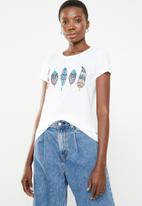 ONLY - Amy fit feather tee - white