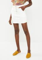 Superbalist - Neutral denim mini skirt with buttons - white