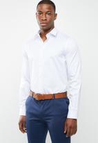 Pringle of Scotland - Ackley tailored fine dot  LS shirt - white/blue