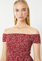 Revenge - Off shoulder red floral maxi - red & white