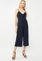 Revenge - Spaghetti strap jumpsuit with bow front - navy