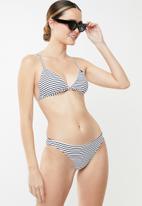 Roxy - Beach classics striped fixed bikini top - black & white