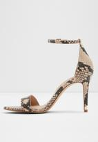 ALDO - Eriressi snakeskin ankle strap stiletto heel - brown & black