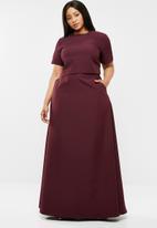 AMANDA LAIRD CHERRY - Plus size lindiwe skirt & naledi top set - burgundy