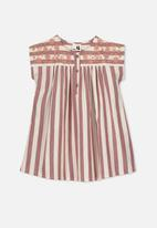 Cotton On - Penny short sleeve dress - red & cream
