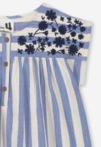 Cotton On - Penny short sleeve dress - blue & cream