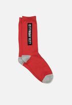 Typo - Novelty socks - red & grey