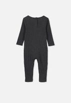 Cotton On - The rib snap romper - charcoal