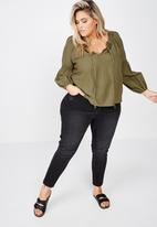 Cotton On - Curve breanne woven top - khaki