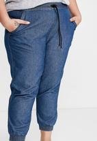 Cotton On - Curve relaxed shirred pant - blue