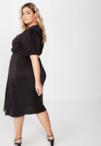 Cotton On - Curve midi V-neck dress - black