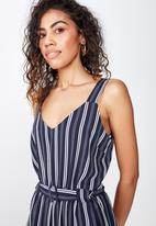 Cotton On - Woven Jilian strappy jumpsuit - white & navy