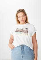 Cotton On - Curve graphic tee palm springs - white