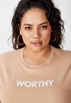 Cotton On - Curve graphic tee worthy - neutral