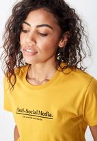 Cotton On - Classic slogan T-shirt anti social media - yellow