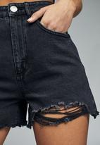 Cotton On - High rise flashback denim sh - distressed black rips