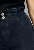 Cotton On - Denim paperbag short - vintage black